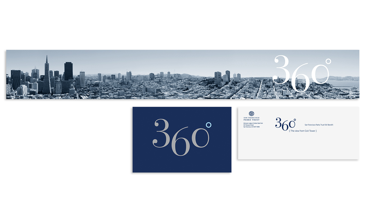 panoramic invitation, save the date card and mailing envelope. 360 degree view of San Francisco