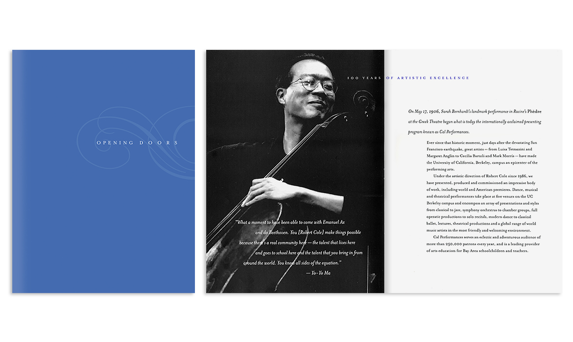 Cover and interior spread from Opening Doors brochure for Cal Performances 100 Years capital campaign