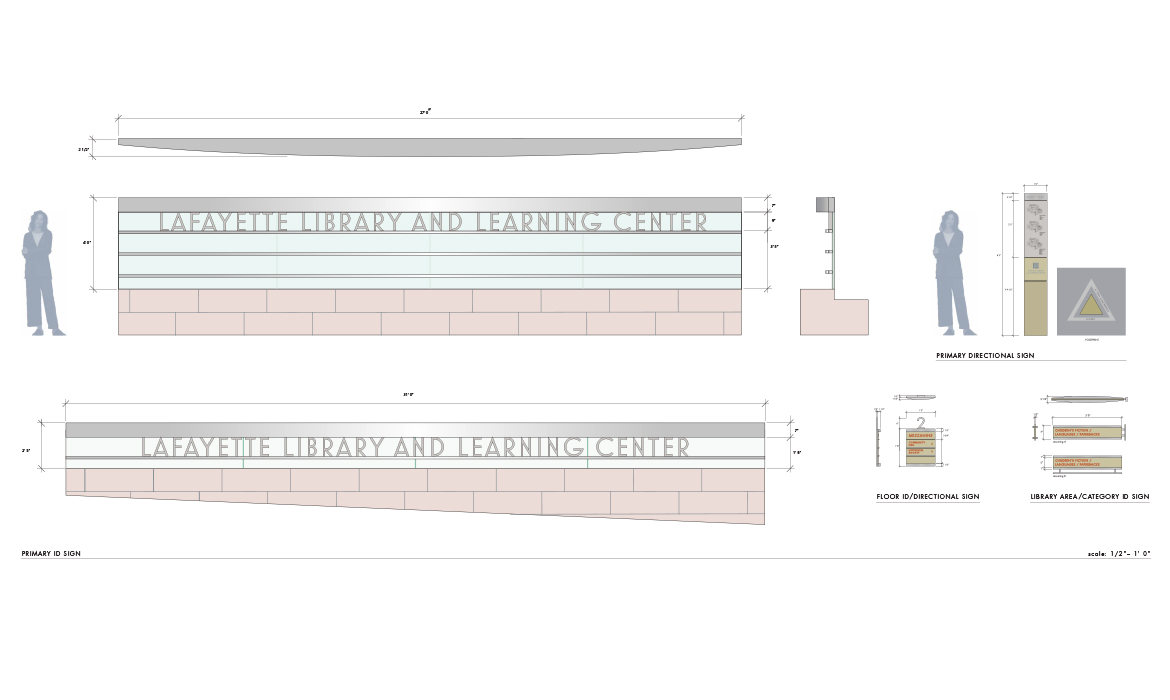 Lafayette Library and Learning Center entry signage final drawings with figure for scale
