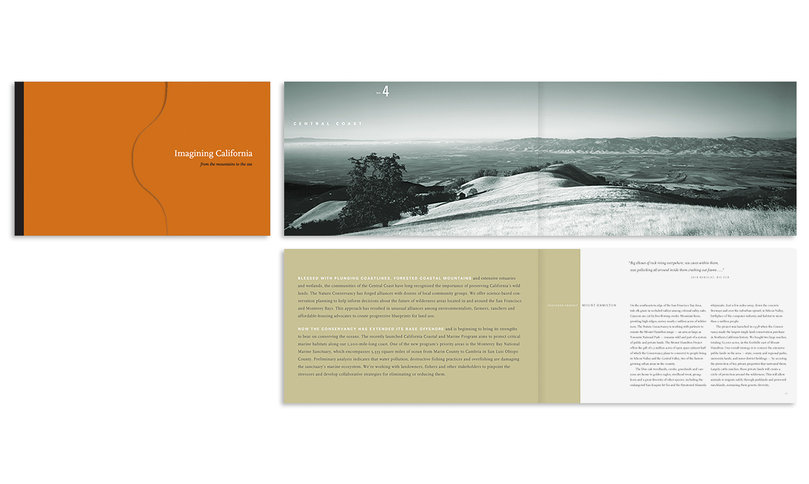 Cover and 2 interior spreads for The Nature Conservancy Imagining California brcohure
