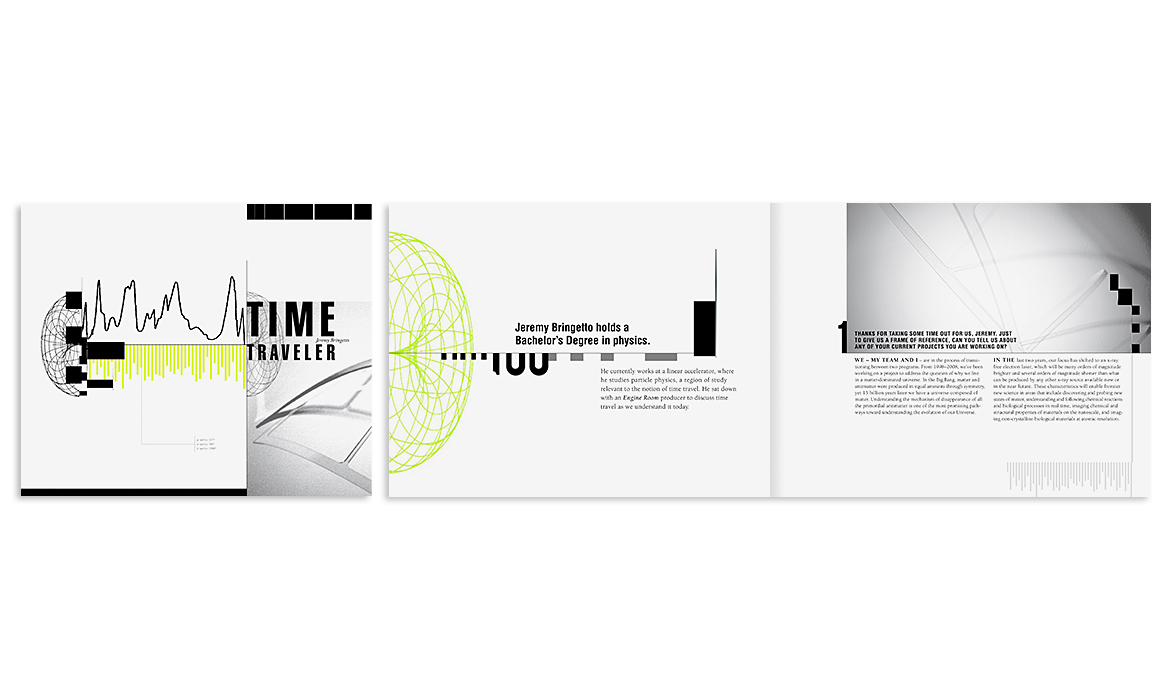 Cover and Interior spread for an 8 page brochure about Time Travel