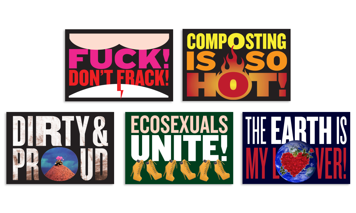 5 phrases and accompanying graphics used as protest signs in the show and giveaways
