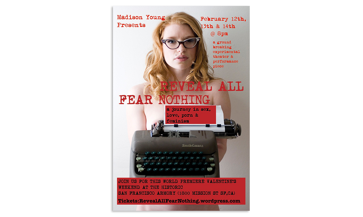 Invitation postcard for Madison Young Reveal All Fear Nothing show