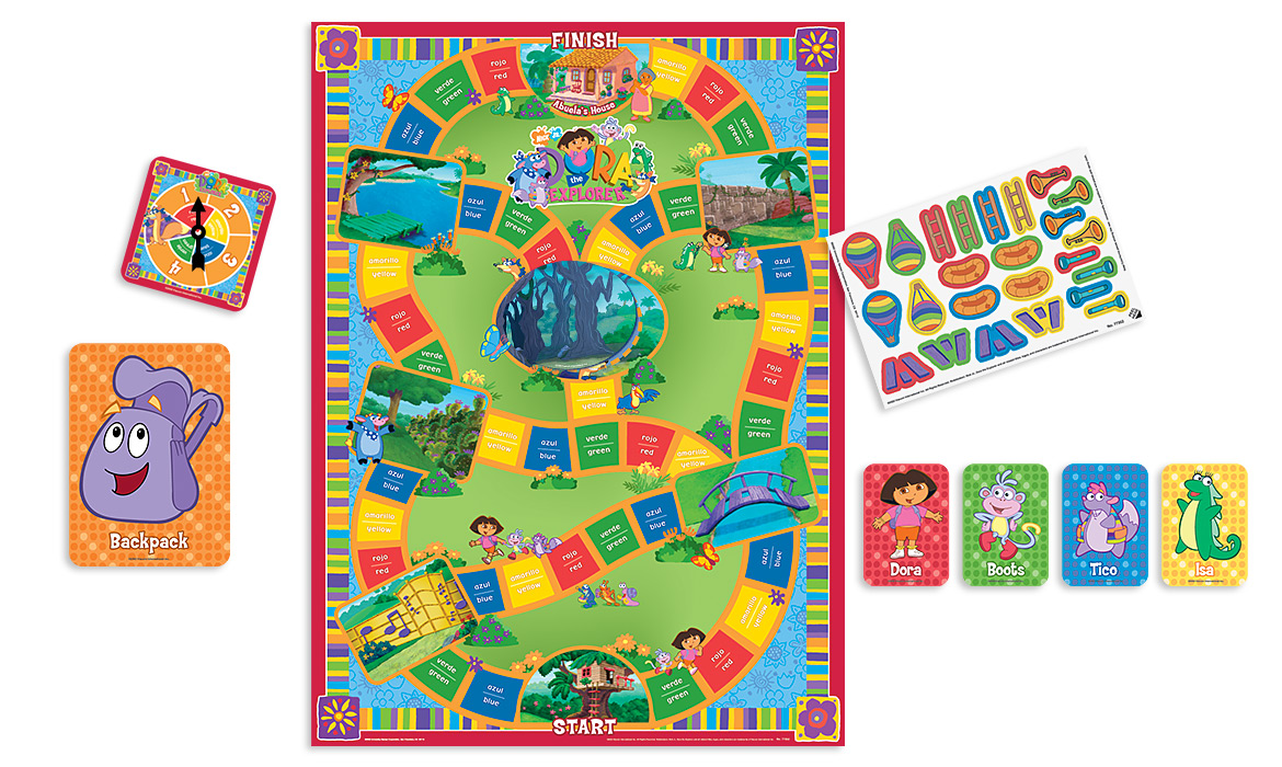 Dora the Explorer Big Easy Game components: game board, stickers, player cards, spinner