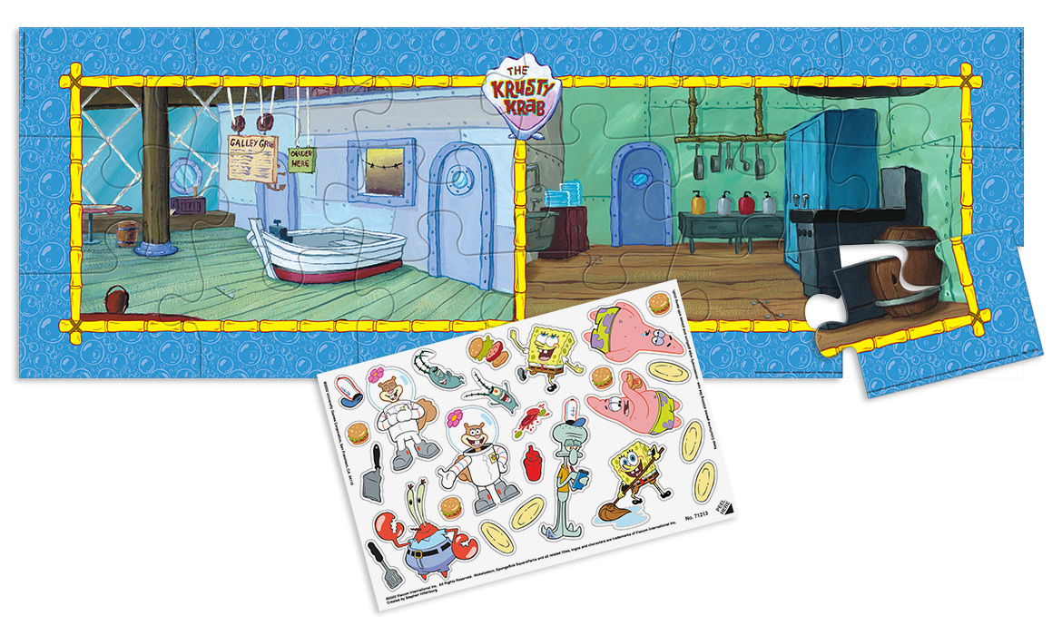 SpongeBob Squarepants Giant Floor Puzzle with character stickers