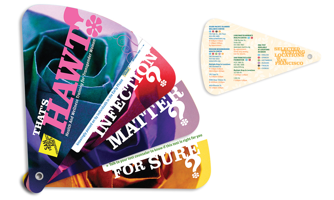 A 4 panel folding fan for the M-T-F transgender community with important health information and HIV testing locations on the back of each panel
