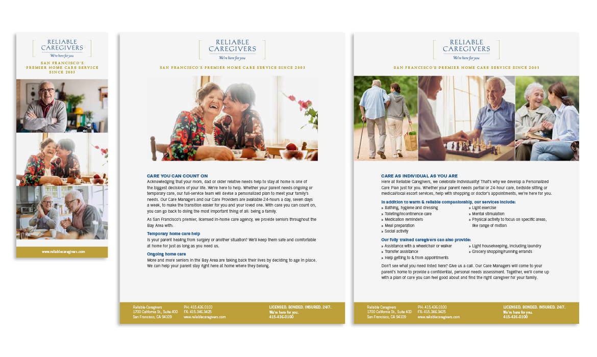 A rebrand and printed material redesign: A slim-jim brochure and 2 insert pages from a larger brochure
