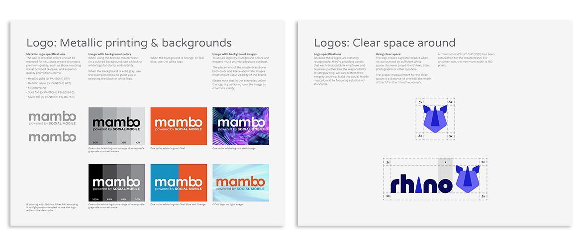 2 pages from sub-brands Mambo and Rhino styleguides showing color/ground relationship and logo clear space