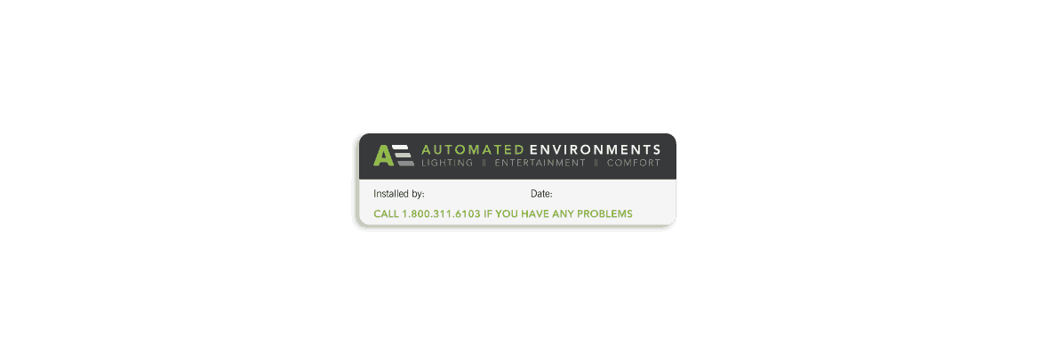 Automated Environments installation sticker